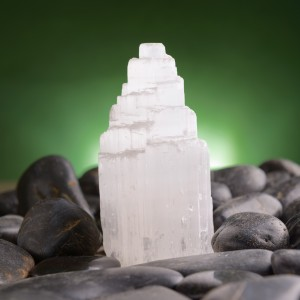 Selenite natural crystal mineral gypsum known as satin spar, desert rose, and gypsum flower